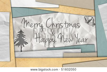 Merry Christmas new year card paper background