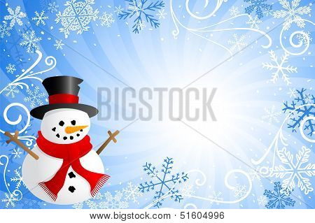 Blue Christmas Background With A Snowman
