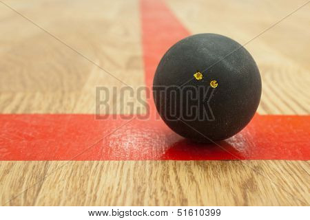 Double yellow dot squash ball on t-line