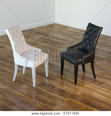 Minimalist Interior Room With Black And White Chairs