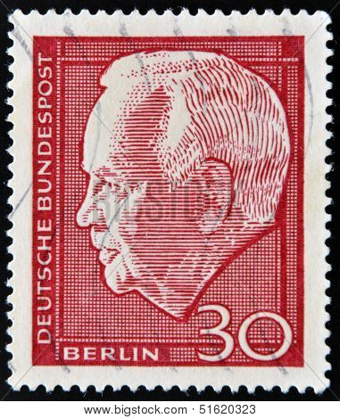 A stamp shows Heinrich L�bke Karl was President of the Federal Republic of Germany