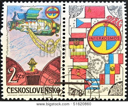 A stamp dedicated to Soviet Intercosmos program shows orbital station and flag