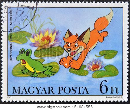 A stamp printed in Hungary shows Scenes from Vuk the Fox Cub Cartoon by Attila Dargay