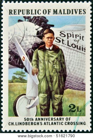 A Stamp shows the Charles A. Lindbergh�s solo transatlantic flight from NY to Paris 50th annivesar