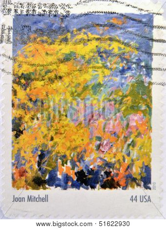 A stamp shows a painting by Joan Mitchell From the Abstract Expressionists Stamp Collection