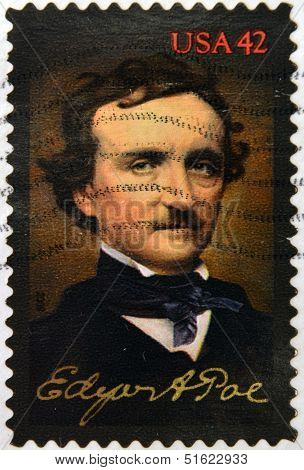 A stamp printed in USA shows Edgar Allan Poe
