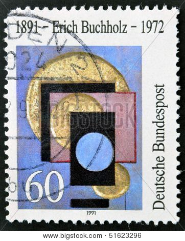 stamp printed in Germany dedicated to Erich Buchholz painter and architect