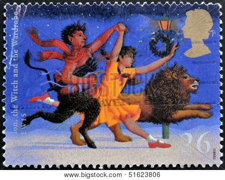 A stamp printed in Great Britain shows The Lion The Witch and the Wardrobe (C.S. Lewis)