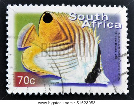 A stamp printed in RSA shows threadfin butterflyfish Chaetodon auriga