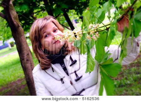 Girl And Chestnut-tree