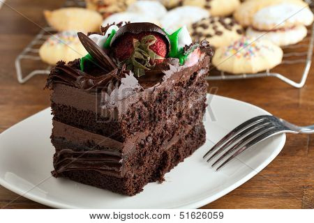 Chocolate Cake Slice With Cookies