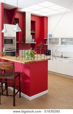 Modern Kitchen Interior With Bar