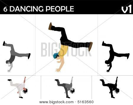 cool young dancers on isolated background . poster
