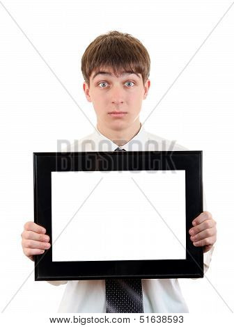 Teenager With Empty Signboard