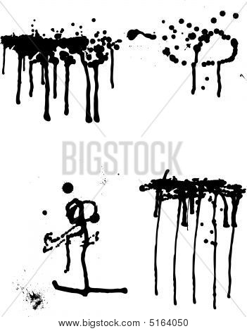 Set Of Ink Blots And Leak In Black And White