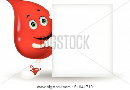 Blood cartoon character with blank sign