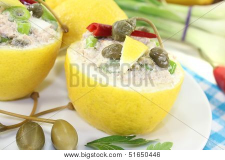 Stuffed Lemons With Tuna Cream And Capers
