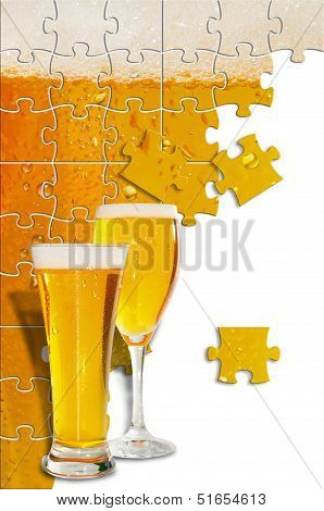 Image Of Beer Formed By Puzle Pieces And Two Glasses In First Plane