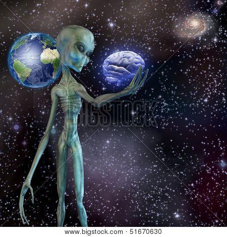 Alien ponders human brain
