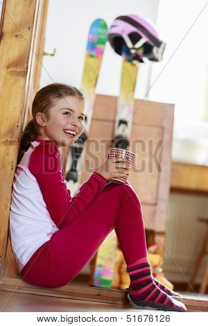 Winter holidays, ski holidays, apres ski - child in a room apartment
