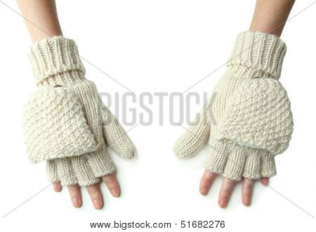 Hands in wool fingerless gloves, isolated on white