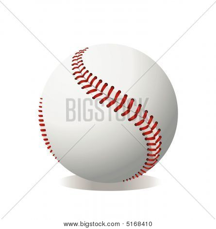 Baseball On White Background Art
