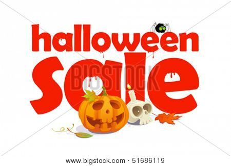 Halloween sale design written in letters of blood.