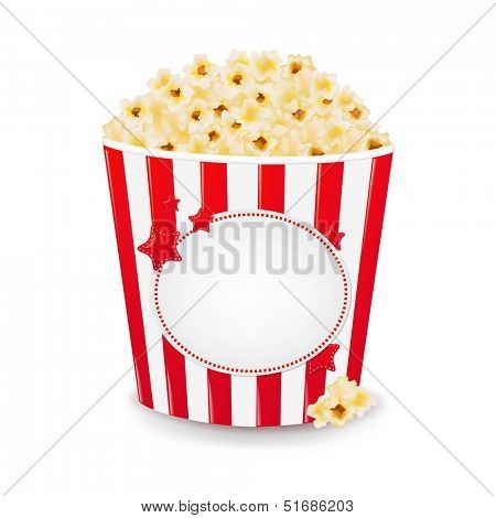 Popcorn In Cardboard Box With Gradient Mesh, Vector Illustration