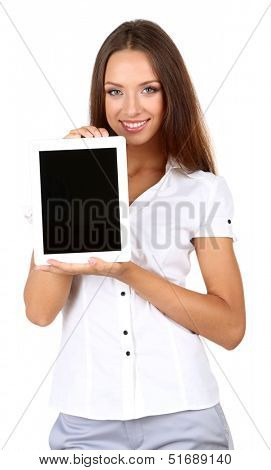 Young beautiful business woman with tablet isolated on white