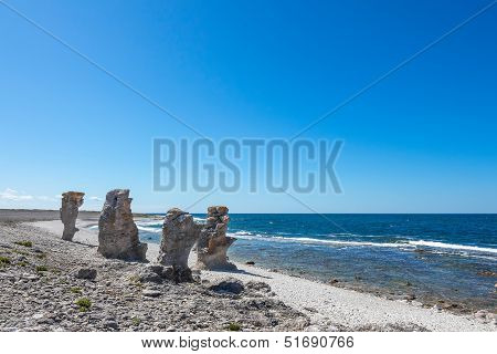 Cliff Formations At The Rocky Coast Of Gotland, Sweden