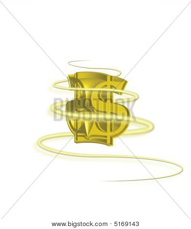 3D Gold Dollar Sign With Swirl On White