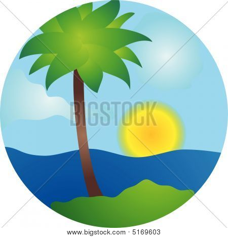 Palm trees sun sunset and once beach poster