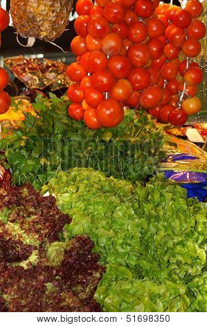 Vegetables Stall In A Traditional Market
