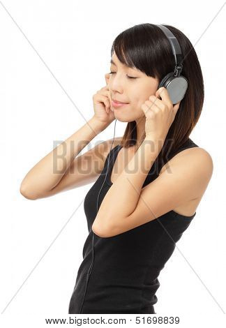 Asian woman enjoy the music
