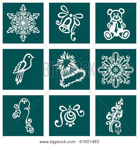 Set of Deco Ornamental Winter Objects (Vector), Patterned design poster