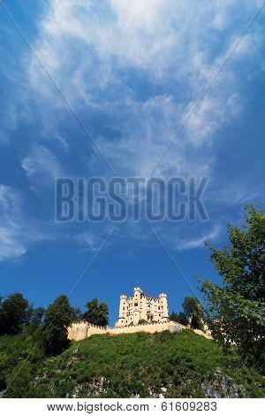 Castle Hohenschwangau In Bavaria And Beautiful Blue Sky