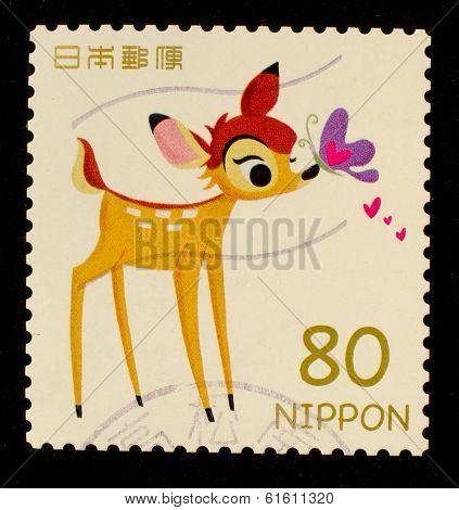 JAPAN - CIRCA 2012: A stamp printed in Japan shows Bambi, circa 2012