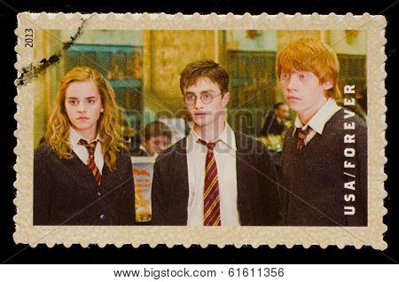 UNITED STATES - CIRCA 2013: postage stamp printed in USA showing an image of Hermione Granger, Harry Potter and Ron Weasley, three Harry Potter main characters, circa 2013.
