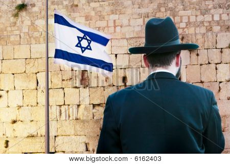Rare View Of Jew On The Wailing Western Wall Background, Jerusalem, Israel