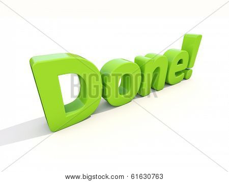 Word done icon on a white background. 3D illustration.