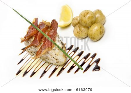 Monkfish tail with boiled potatoes and chive poster