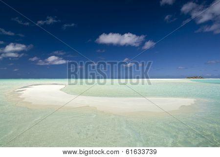 Sandy, shallow, tropical beach. Aitutaki,The Cook Islands