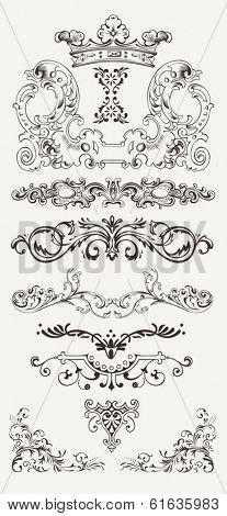 Set Of Vintage Design Elements And Borders