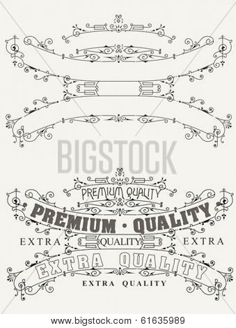 Set Of Retro Label Style And Page Elements