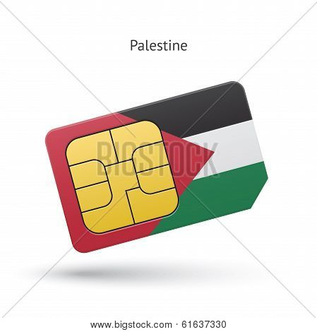 Palestine mobile phone sim card with flag.