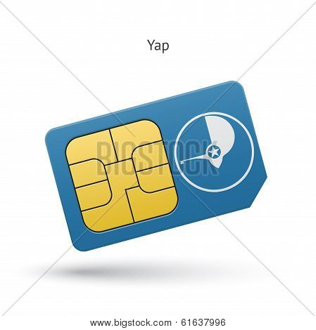 Yap mobile phone sim card with flag.