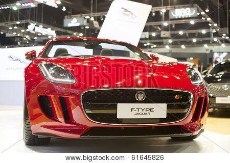 NONTHABURI - DECEMBER 6 : Jaguar F-Type sportcar on display at The 30th  Thailand International Motor Expo on December 6 2013 in Nonthaburi Thailand.