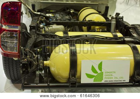 CNG tanks inside car on display