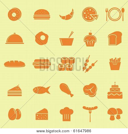 Food Color Icons On Yellow Background