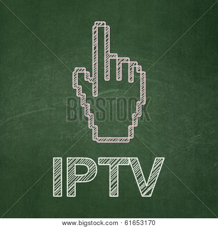 Web development concept: Mouse Cursor and IPTV on chalkboard background